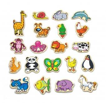 Drewniane magnesy Viga Toys ze zwierzątkami 20 elementów