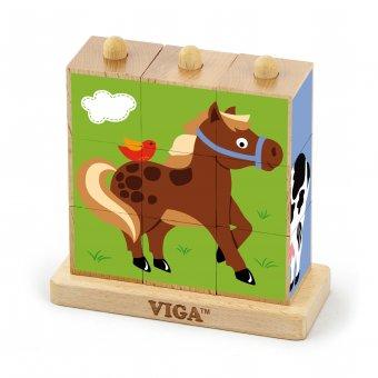 Drewniana układanka logiczna Puzzle Viga Toys Farma 9 elementów