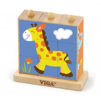 Drewniana układanka logiczna Puzzle Viga Toys Zoo 9 elementów
