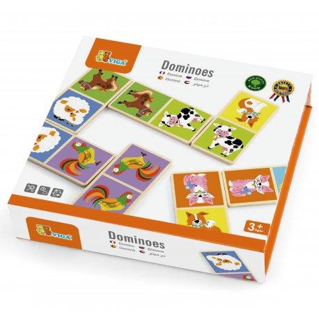 Drewniana gra Domino Farma Viga Toys 28 elementów