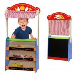 Drewniany Teatrzyk i sklepik 2w1 z akcesoriami Viga Toys