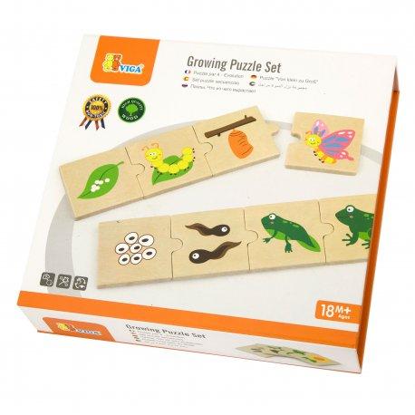Drewniane Puzzle Rosnące zwierzątka i rośliny Viga Toys
