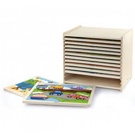 Puzzle drewniane 12 plansz po 16 puzzli w stojaku Viga Toys
