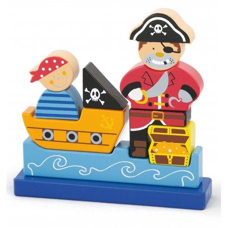 Drewniane Klocki magnetyczne Viga Pirat