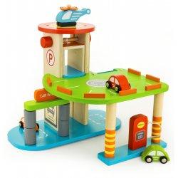 Drewniana Dwupoziomowy garaż z akcesoriami Viga Toys