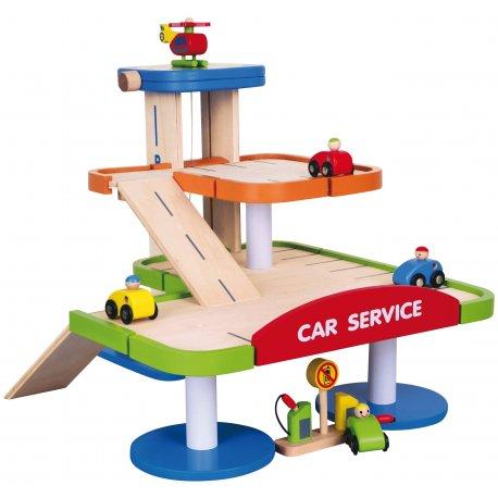 Drewniany Dwupoziomowy garaż z akcesoriami Car Service Viga Toys