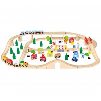 Drewniana Ogromna Stacja kolejowa 90 elementów Viga Toys