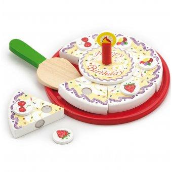 Drewniany Urodzinowy tort do krojenia Viga Toys