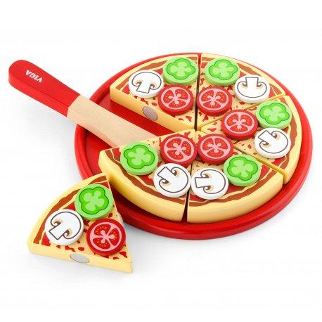 Drewniana Pizza do krojenia z dodatkami Viga Toys