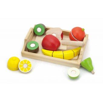 Drewniane Owoce do krojenia na tacy Viga Toys