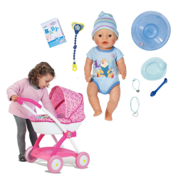 BABY born Lalka interaktywna - Chłopiec 43cm + Wózek dla lalek Smoby - Disney Princess
