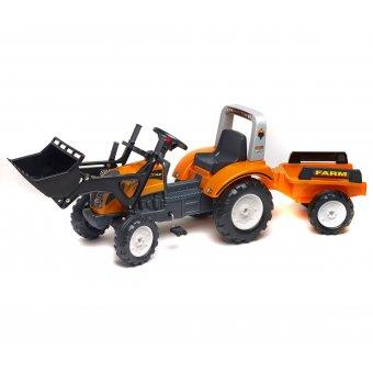 Falk Traktor na pedały RANCH TRAC + przyczepa + łyżka Pomarańczowy