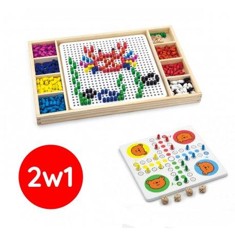 Drewniana układanka Gra chińczyk 2w1 Wciskane koraliki Viga Toys