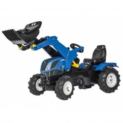 New Holland traktor na pedały z łyżką i pompowanymi kołami Rolly Toys rollyFarmtrac