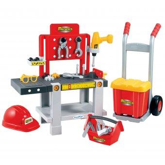 Ecoiffier Warsztat 4w1 z wózkiem i skrzynką na narzędzia Mecanics 22 elementy