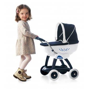 Głęboki granatowy wózek dla lalek Chuli Pop Car Biały Smoby Inglesina