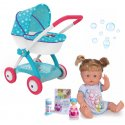 Smoby Wózek dla lalek Frozen Kraina Lodu głęboki + Pachnąca Lalka Nenuco z Magiczną buteleczką Niebieska 30 cm