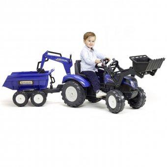 Traktor na pedały New Holland z przyczepą oraz łyżką i koparką Falk