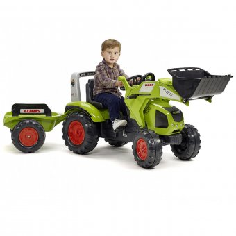 Claas Axos 330 Traktor na pedały z łyżką i przyczepą FALK