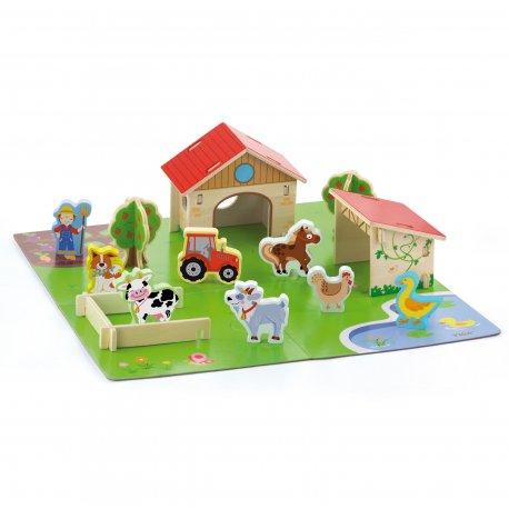 Viga Farma 3D Zagroda Drewniana ze zwierzętami 30 elementów