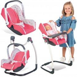 Smoby Zestaw 3w1 Maxi Cosi fotelik krzesełko huśtawka dla lalki