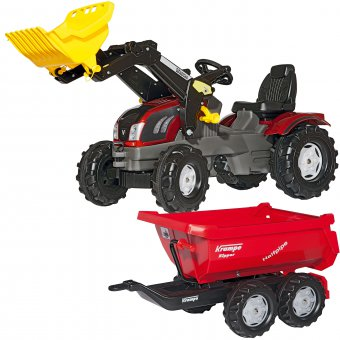 Rolly Toys rollyFarmTrac Traktor z łyżką Valtra + Rolly Toys Przyczepa Wywrotka Krampe