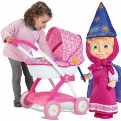 Smoby Wózek dla lalek Disney Princess Głęboki Gondola + Lalka Masza