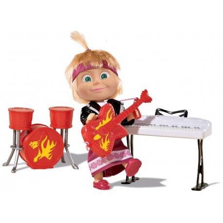 Simba Lalka Masza Rockowa Z Instrumentami Keyboard Perkusja Gitara