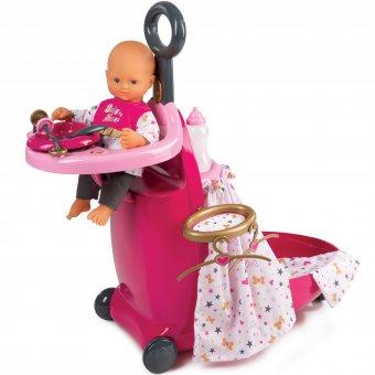 Smoby Baby Nurse Opiekunka - Zestaw wielofunkcyjny Walizka opiekunki krzesełko do karmienia