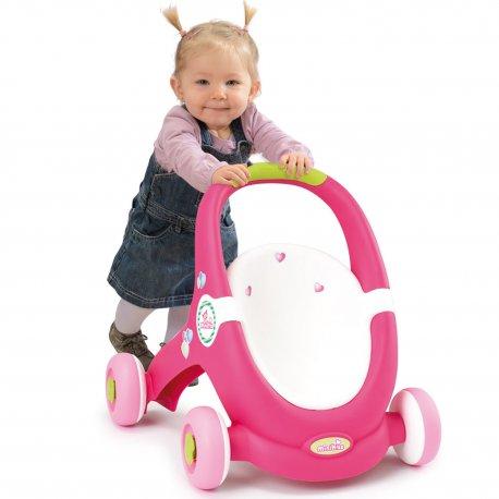 SMOBY Chodzik Pchacz Mini kiss Spacerówka Różowy Wózek dla lalek 2 w 1
