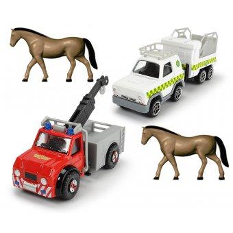 Strażak Sam Zestaw 2 Auta Phoenix i Vet Dickie + 2 konie