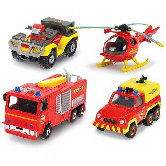 Strażak Sam zestaw czterech metalowych pojazdów Dickie