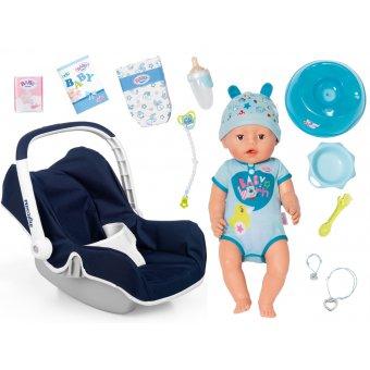 Zestaw Baby Born Lalka interaktywna - Chłopiec 43cm + Nosidełko Smoby Inglesina