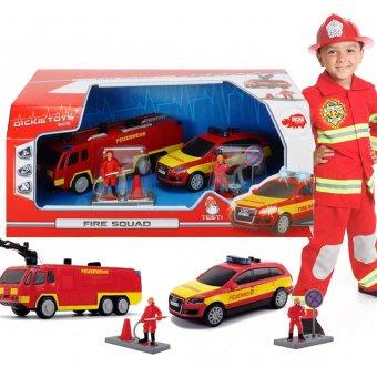 Dickie Remiza Drużyna strażacka SOS - zestaw 2 pojazdy + figurki