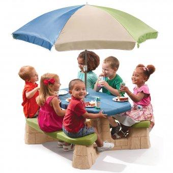 STEP2 Stół Piknikowy z Parasolem 6 osobowy