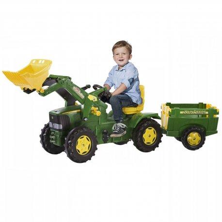 Traktor na pedały rollyFarmTrac John Deere z łyżką i przyczepką