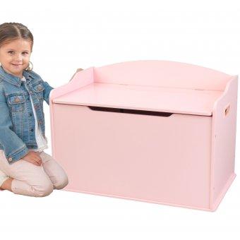 KidKraft Drewniana skrzynia ławka 2w1 pojemnik na zabawki Austin Różowa