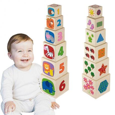 Drewniana Piramida Piramidka Wieża Edukacyjna 6 klocków Viga Toys