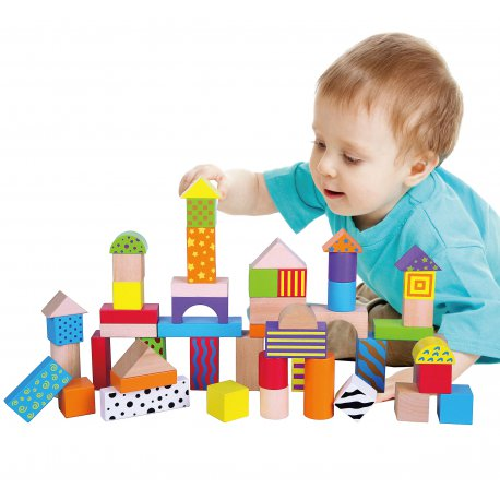 Drewniane Klocki Edukacyjne Viga Toys W Wiaderku 50 elementów