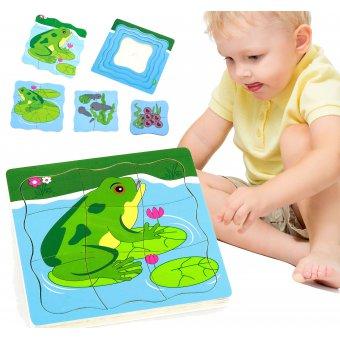Puzzle drewniane Viga Toys Jak rośnie żabka 4 Obrazki 21 Elementów