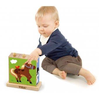 Drewniana układanka logiczna Puzzle Klocki Viga Toys Farma 9 elementów