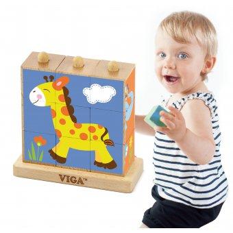 Drewniana układanka Klocki logiczne Puzzle Viga Toys Zoo 9 elementów