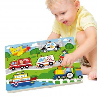 Drewniane Puzzle dźwiękowe Pojazdy Viga Toys