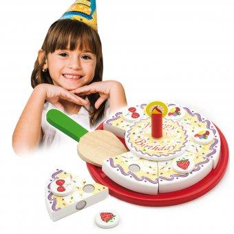 Tort Urodzinowy Drewniany Zestaw do Krojenia na Rzepy Viga Toys