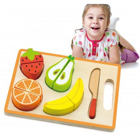 Drewniany Zestaw Deska Do Krojenia Owoce Nóż Viga Toys