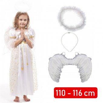 Strój Aniołek Anioł Skrzydła Sukienka Aureola kostium dla dziecka 110-116