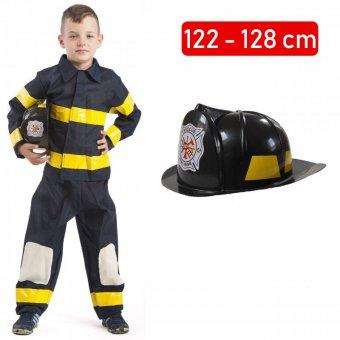 Strój Strażak Kostium Strażaka Mundur Kask Straż Pożarna dloa dziecka 122-128cm