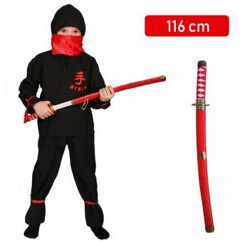 Strój Ninja Wojownik Ninjago Kostium Bluza Spodnie Miecz Pas Chusta dla dziecka 116 cm