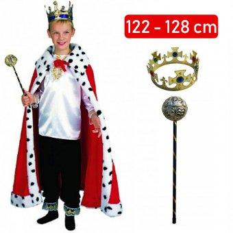 Strój Króla Król Berło Korona Peleryna Kostium dla dziecka 122-128cm
