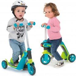 Smoby 2w1 Hulajnoga jeździk regulowana trójkołowa niebiesko-zielona